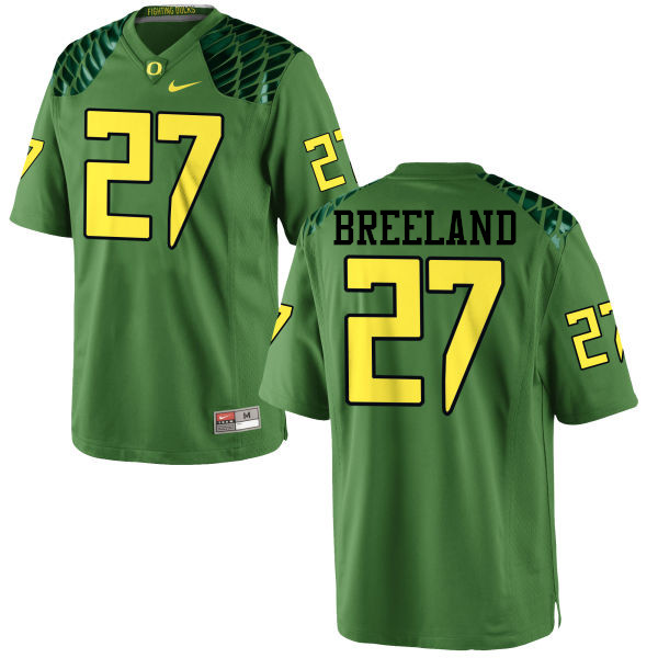 Men #27 Jacob Breeland Oregon Ducks College Football Jerseys-Apple Green