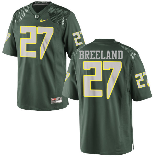 Men #27 Jacob Breeland Oregon Ducks College Football Jerseys-Green