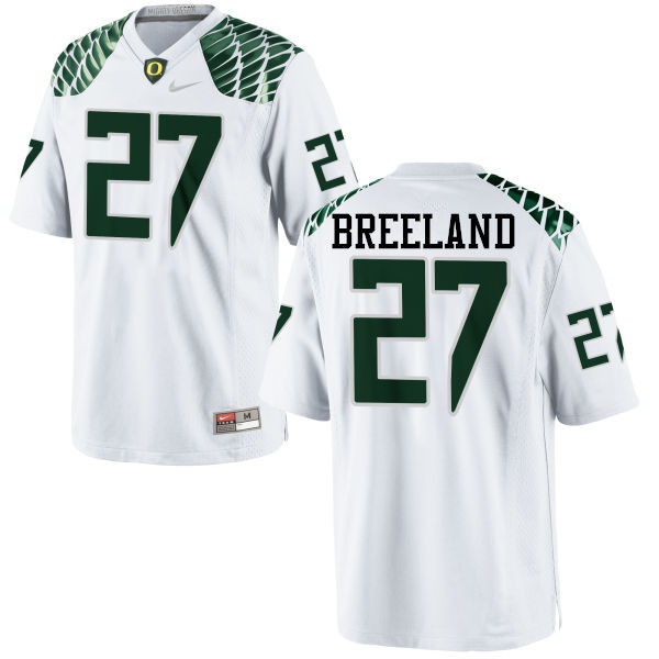 Men #27 Jacob Breeland Oregon Ducks College Football Jerseys-White