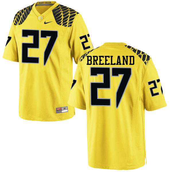 Men #27 Jacob Breeland Oregon Ducks College Football Jerseys-Yellow