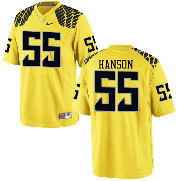 Men #55 Jake Hanson Oregon Ducks College Football Jerseys-Yellow
