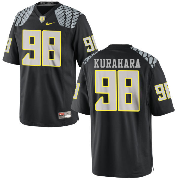 Men #98 Jordan Kurahara Oregon Ducks College Football Jerseys-Black