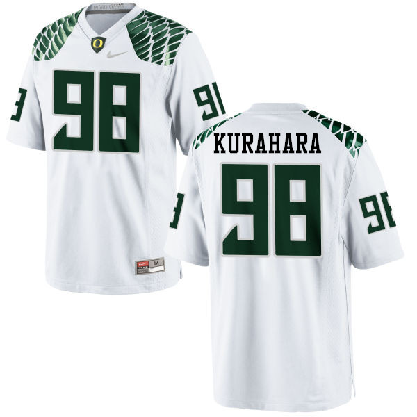 Men #98 Jordan Kurahara Oregon Ducks College Football Jerseys-White