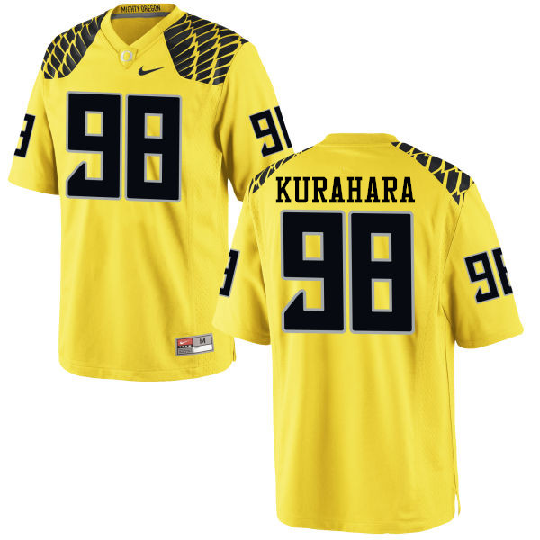 Men #98 Jordan Kurahara Oregon Ducks College Football Jerseys-Yellow