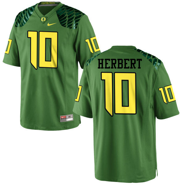 Men #10 Justin Herbert Oregon Ducks College Football Jerseys-Apple Green