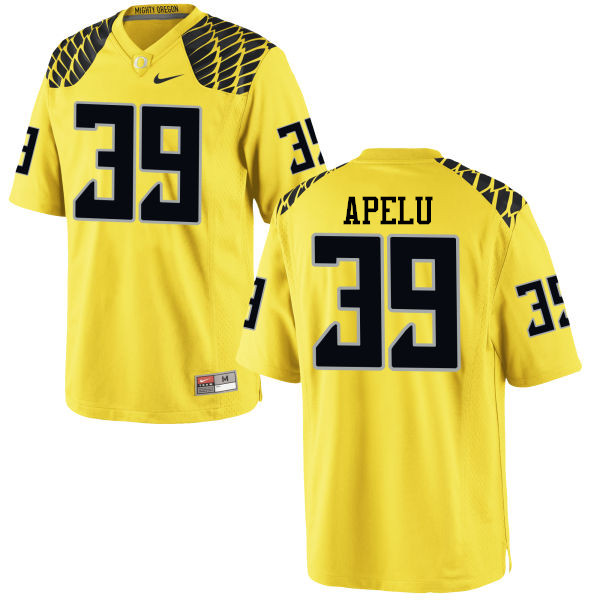 Men #39 Kaulana Apelu Oregon Ducks College Football Jerseys-Yellow