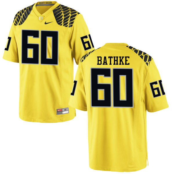 Men #60 Logan Bathke Oregon Ducks College Football Jerseys-Yellow