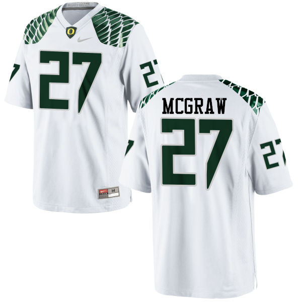 Men #27 Mattrell McGraw Oregon Ducks College Football Jerseys-White