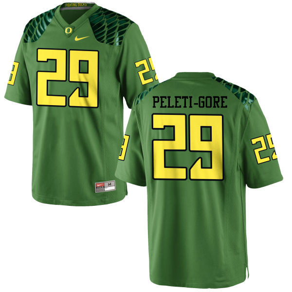 Men #29 Pou Peleti-Gore Oregon Ducks College Football Jerseys-Apple Green