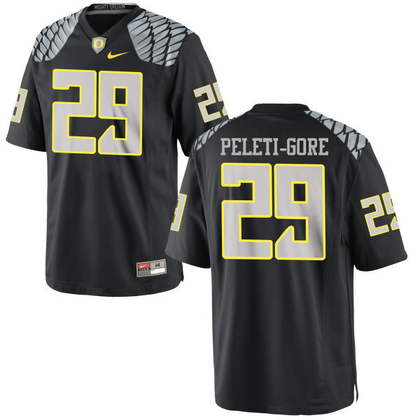 Men #29 Pou Peleti-Gore Oregon Ducks College Football Jerseys-Black