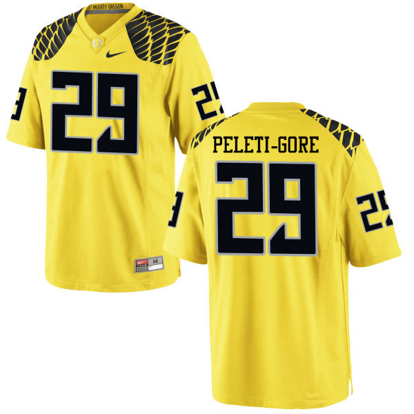 Men #29 Pou Peleti-Gore Oregon Ducks College Football Jerseys-Yellow
