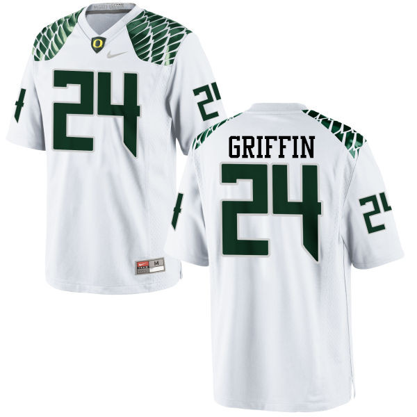 Men #24 Taj Griffin Oregon Ducks College Football Jerseys-White