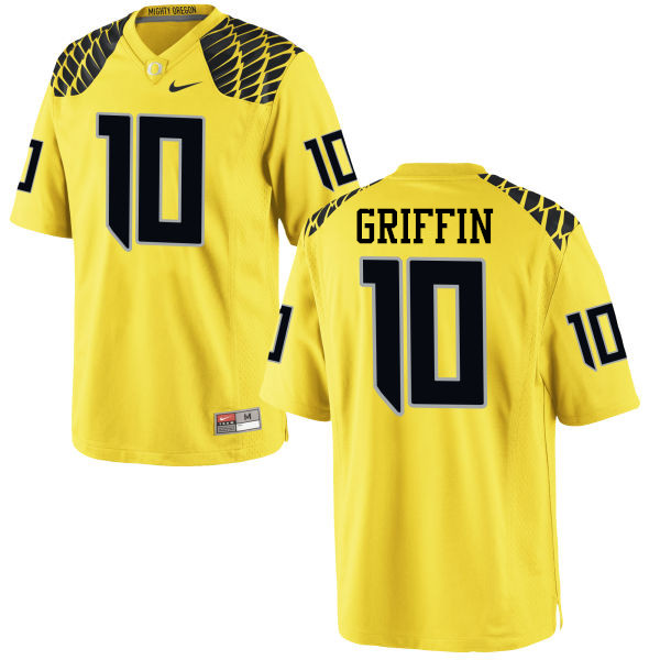 Men #10 Ty Griffin Oregon Ducks College Football Jerseys-Yellow