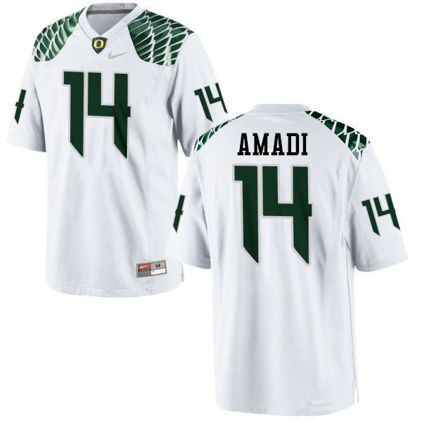 Men #14 Ugo Amadi Oregon Ducks College Football Jerseys-White