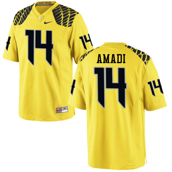 Men #14 Ugo Amadi Oregon Ducks College Football Jerseys-Yellow